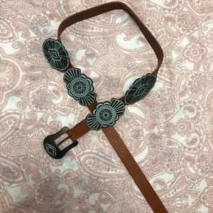 Brown Leather belt Western Style Turquoise Buckle